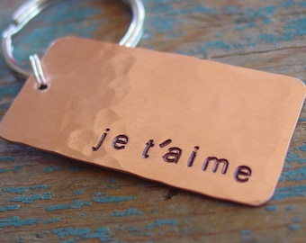 Je T'aime Frecnh Keychain, Boyfriend Gift, Girlfriend Gift, Long Distance Relationship, I Love You Keychain, Hand Stamped, Romantic Gifts