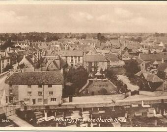 Vintage 1910s Postcard Tetbury England United Kingdom UK Town Aerial Town Scenic Sepia Street View White Border Postally Unused