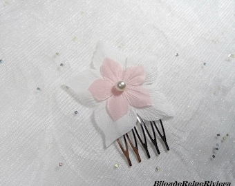 Hair comb wedding flower pink white silk - the elegant Collection - romantic wedding, Bridal, hair, Bridal hair accessories hair jewelry