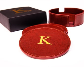 Drink Coasters Set By Kemtoo- Set of 6 Leatherette Coasters with Holder, Suitable for all Cups, Glasses & Mugs Quality and Classy Drink Mats