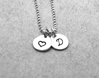 Initial Necklace with Heart, Sterling Silver, Letter D Necklace, All Letters Available, Hand Stamped Jewelry, Mother's Necklace, Everyday
