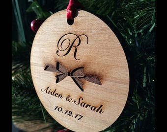 Newlywed Monogram Keepsake Ornament - Personalized Holiday Ornament - Our First Christmas - Just Married - Wood Xmas Ornament - SKU#18C