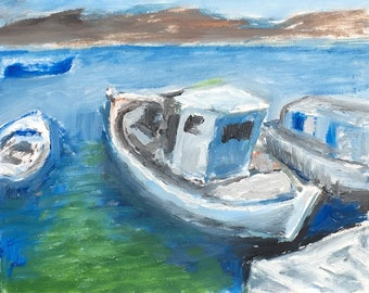 Oil painting of Fishing Boats