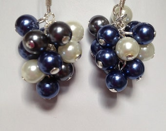 Multi-color Pearl Cluster Earrings, Grape Cluster, Party Pearls - Navy/ Gray/ White, Unique, OOAK, SRAJD