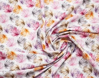 Palm tree leaves printed cotton poplin, beige , half meter