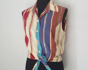 80s Western Silk Tie Front Crop Top Blouse by Betty Barclay