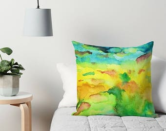 Watercolor Pillow, Couch Pillow, Throw Pillow, Yellow, Blue, Green, Abstract Pillow, Art Pillow, 16x16, 18x18, 20x20, 24x24, 26x26