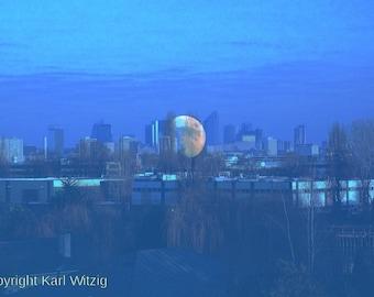 Moon rising in Paris Photographic Art