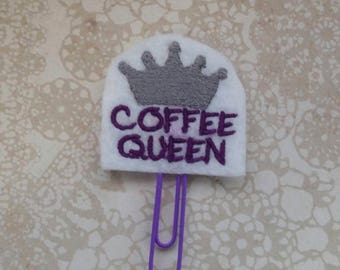 Coffee Queen Planner Clip, Band, Charm, Bookmark