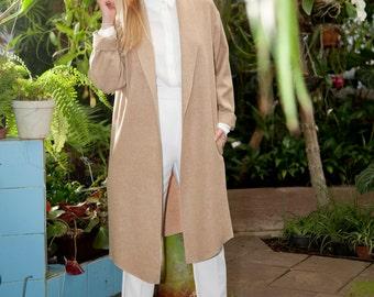 Handmade Wool Beige Coat / Minimalist Coat / Wool Spring Coat / Wool Cardigan / Women's Coat / Oversize Coat / Moondust Clothing Coat