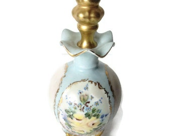 Vintage Limoges Porcelain Perfume Scent Bottle Hand Painted