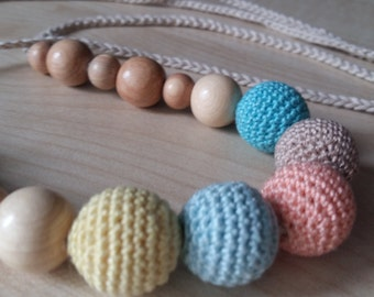 Teething Necklace Breastfeeding Juniper Crochet necklace Natural jewelry Organic cotton Nursing necklace Baby Toy.
