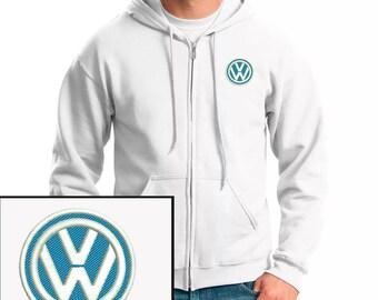 Vollswagen Emboidered Hoodie White Full Zip Hooded Sweatshirt New