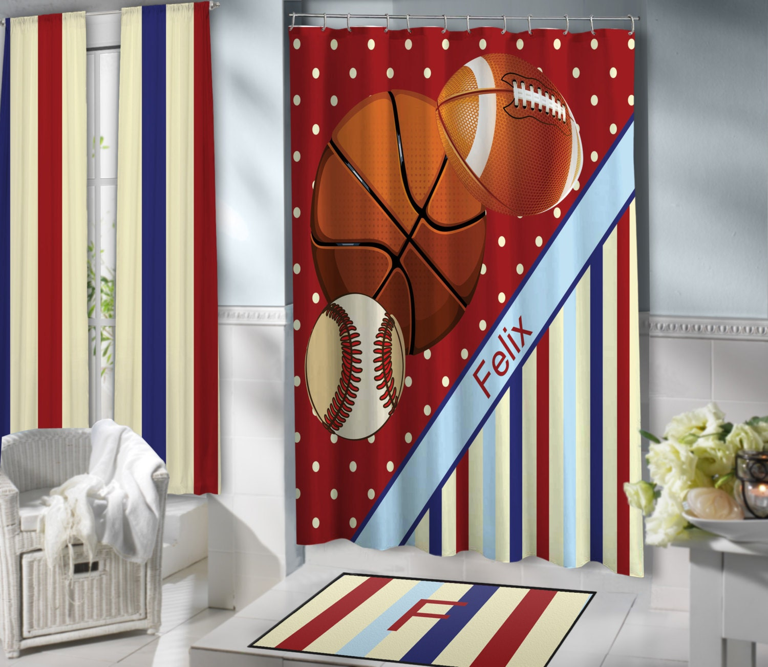 Red Sports Shower curtains for Kids Basketball Football &