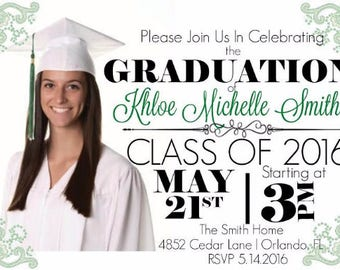 Personalized Graduation Invite used as digital download/ Printing available/ Celebrate college/ highschool/ achievements