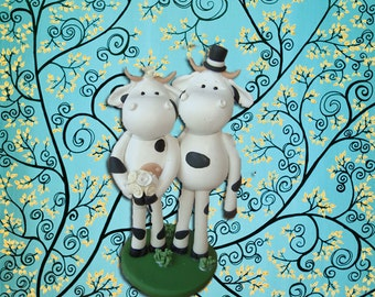 Personlized Cow Wedding Cake Topper