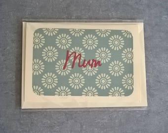 Handmade Mum Mother's Day Card birthday card blue