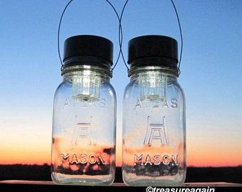 Hazel Atlas Solar Mason Jar Lanterns Square Antique Clear Glass Hanging Solar Lights, Outdoor Garden Lights