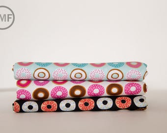 Suzy's Minis 2 Donuts Fat Quarter Bundle, 3 Pieces, Suzy Ultman, 100% Cotton, Robert Kaufman Fabrics, ASD-17217