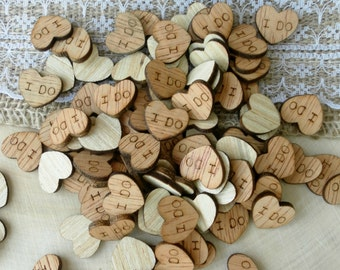 "100 Tiny ""I Do"" Hearts ~ 1/2"" ~ Cute Little Wooden Hearts! Bridal Shower Decoration ~ Summer Wedding"