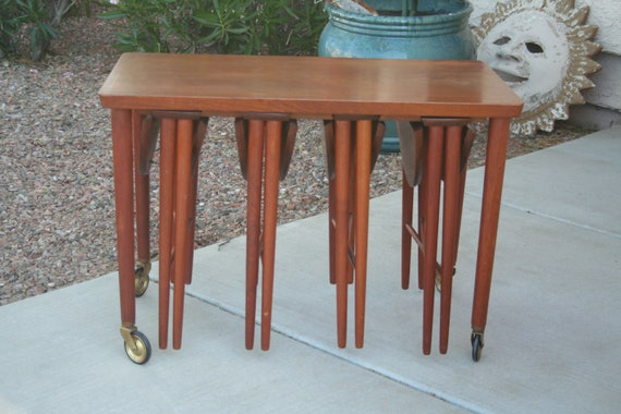 Poul hundevan serving trolley teak and beech nesting tables watchthetrailerfo