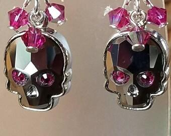 Light chrome crystal skulls,  sugar skulls,  Dia De Los Muertos, day of the dead drop earrings