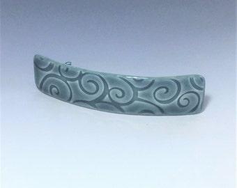 Large Blue Barrette, Porcelain Barrette, Ceramic Barrette, French Barrette, Blue Ceramic Hair Clip, Swirl Pattern, Blue Hair Barrette