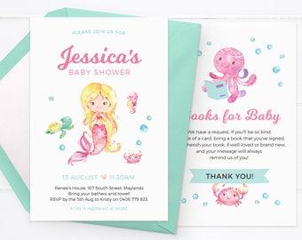 Mermaid baby shower invitations, Girl baby shower invitations, Girl baby shower invites Printable baby shower invitations, custom invitation