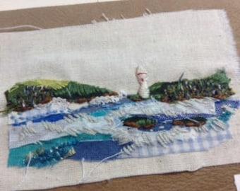 Mixed Media Textile Art Landscape - Harbour