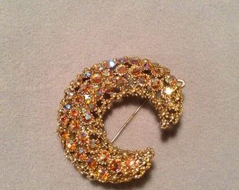 1950's peach Aurora Borealis crescent brooch and pendant