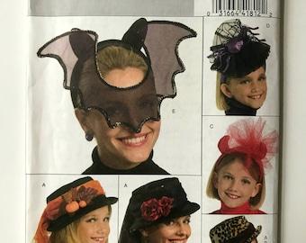 Butterick B5118 Sewing Pattern for Misses' Girls' Halloween Hat, Bat Mask, Spider Hat, Devil Hat, Pumpkin Hat, Halloween Costume