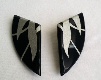 Vintage Silver Tone Black Plastic Stud Earrings.