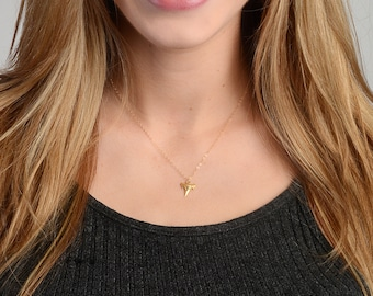 Tiny Shark Tooth Necklace, Dainty Necklace, Layering Necklace, Simple Minimalist Jewelry, Bohemian Necklace, Gold Fill or Sterling Silver