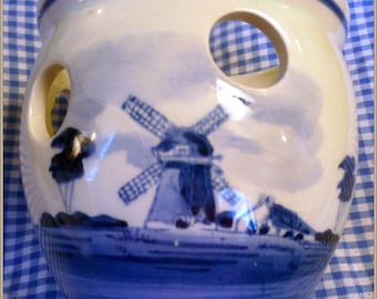 DELFT Vintage Planter with Holes-Handpainted Made in Holland