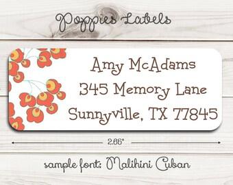 Poppies Return Address Labels