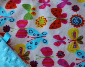 Minky Lovey Blanket Multi Colored Butterfly Print Minky with Turquoise Dimple Dot Minky Backing - great for a new baby