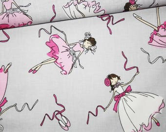 Ballet dancers, 100% cotton fabric printed 50 x 160 cm pattern dancers on a grey background