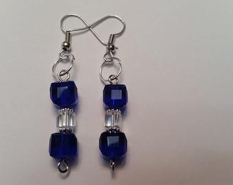 Cobalt Square Crystal Earrings; Cobalt Square Drop Earrings; Cobalt Dangle Earrings; Cobalt Blue Dangle Earrings