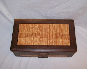 Jewelry Box handcrafted Fancy Walnut with Highly Figured Quilted Maple inlayed top from our  Elite Collection 16 1/2''x10''x6''