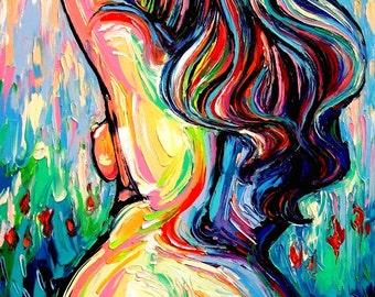 Amazon.com: Abstract Nude Art PRINT Femme 175 Colorful
