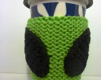 Alien Coffee Cozy, Knit and Crochet