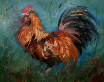 Rooster129 11x14 Print of oil painting by Roz
