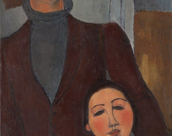 Jacques and Berthe Lipchitz by Amedeo Modigliani Home Decor Wall Decor Giclee Art Print Poster A4 A3 A2 Large Print FLAT RATE SHIPPING