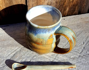 Handthrown Mug in Warm Amber and Rutile with Ceramic Spoon