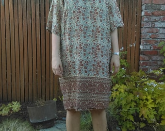 1970s Kaiser Indian cotton brown floral dress // small-medium