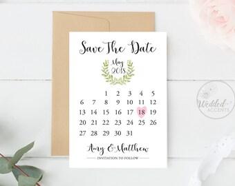 Save the Date Calendar, Wedding Save The Date Calendar, Calendar Save the Date Cards, Save The Date Calendar Printable