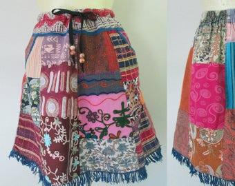 Patchwork Mini Skirt With Fringe  // Ethnic Boho Vintage