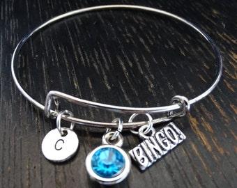 Bingo Bangle Bracelet, Adjustable Expandable Bangle Bracelet, Bingo Charm, Bingo Pendant, Bingo Jewelry, Bingo Game, Bingo Bracelet, Game