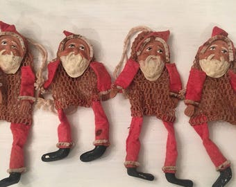 Antique Plaster Santa Candy Holder Ornament ~ Santa with Netted Bag and drawstring ~ Rare Christmas Ornaments ~ Christmas Tree Ornaments