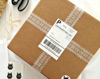 DECORATIVE LACE Packing Tape - A unique gift wrap supply that will add flare to your shipping boxes, scrapbooks or presents